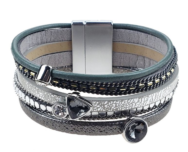 Leather bracelet in silver, grey and teal with onyx and white crystal beads.
